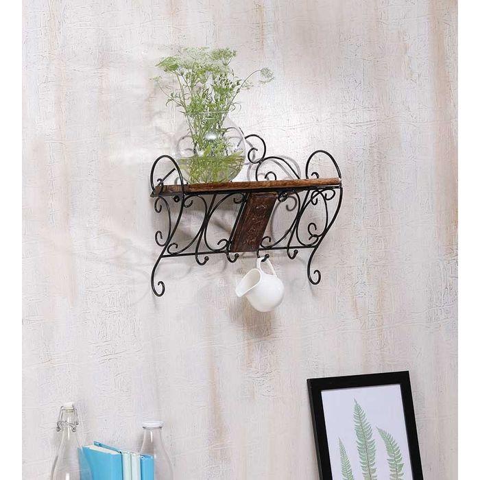 Wooden & Wrought Iron Wall Bracket | Book Rack | Cloth Hanger