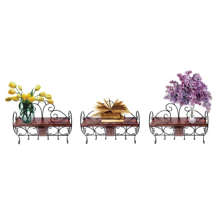 Onlineshoppee Wooden & Wrought Iron Wall Bracket | Book Rack | Cloth Hanger  Combo Pack of 3