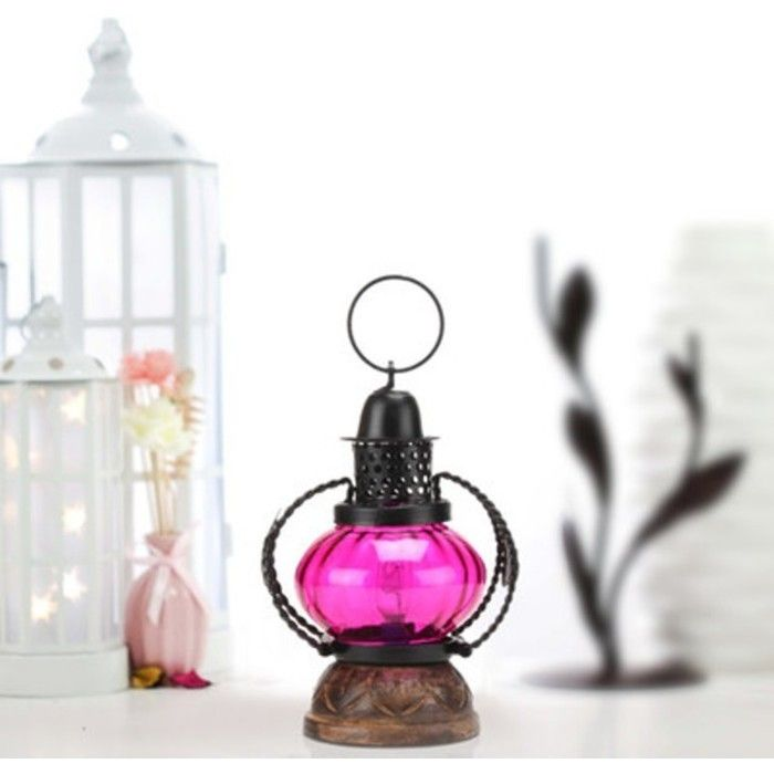 Wooden & Iron hand carved Colored Electric Chimney Lantern design ~ Pink