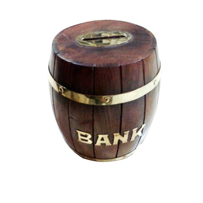 "Wooden ✿ Coin Box Piggy Money Bank ~ 5x3"" Wine Barrel Shape ✿ Antique type"