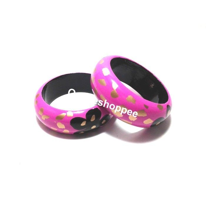 Wooden Bangles - Pink