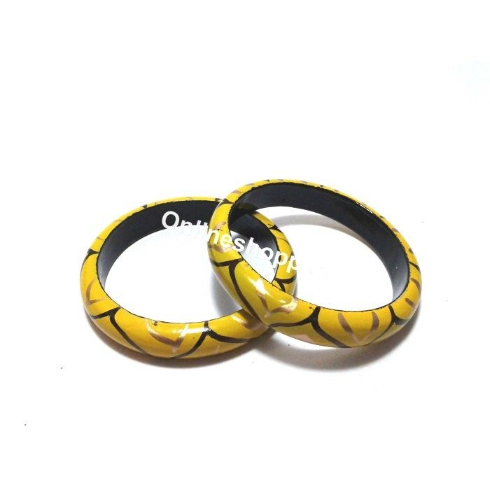 Wooden Bangles - Yellow