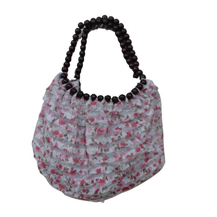 Pink Handbags With Beads Handle