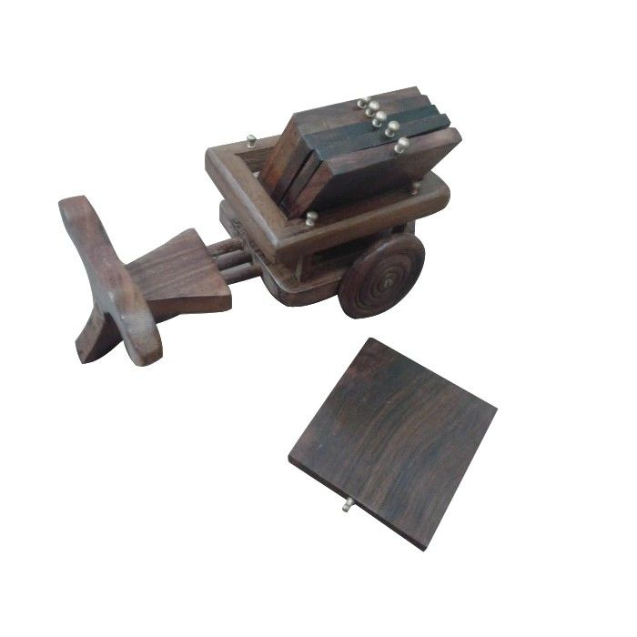 Wooden Tea Coffee Coaster Set CART shape Office Home decor Dining accessory