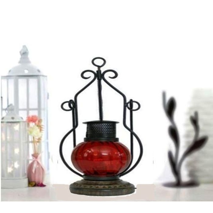 Wooden & Iron hand carved Colored Electric Chimney Lantern Red