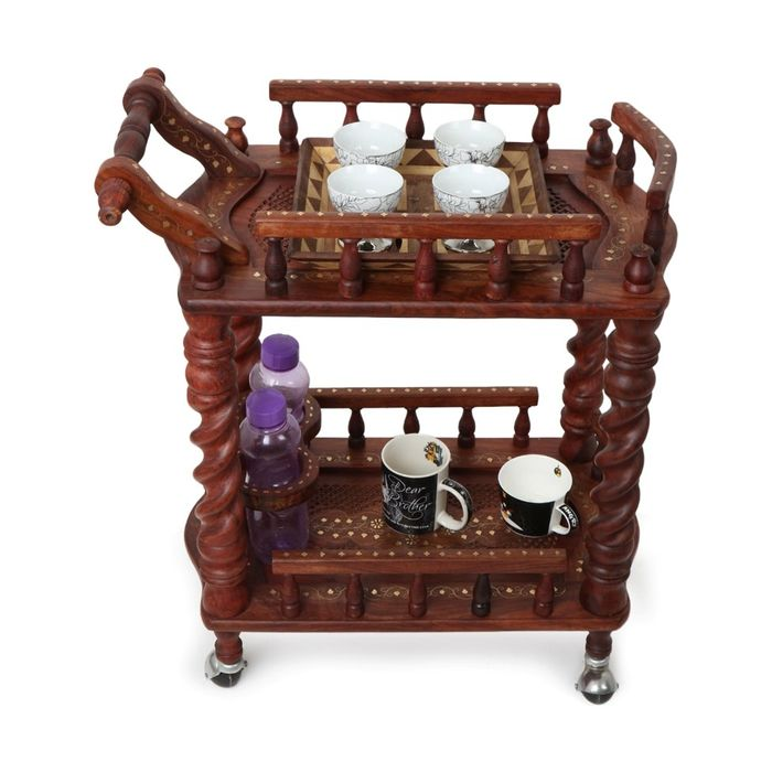 Onlineshoppee Wooden Carved Serving Cart Kitchen Trolly