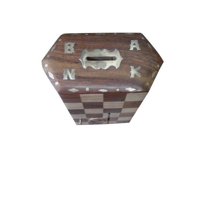 Wooden ✿ Coin Box Piggy Money Bank ~  Chess Design ✿ Antique type