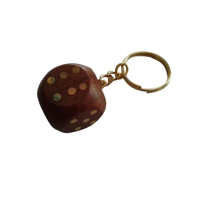 Wooden Dice Key Chain