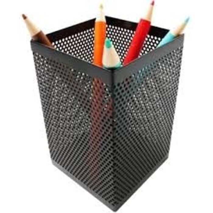 Onlineshoppee Square Black Pen Stand 1 Compartments Metal Pen Stand