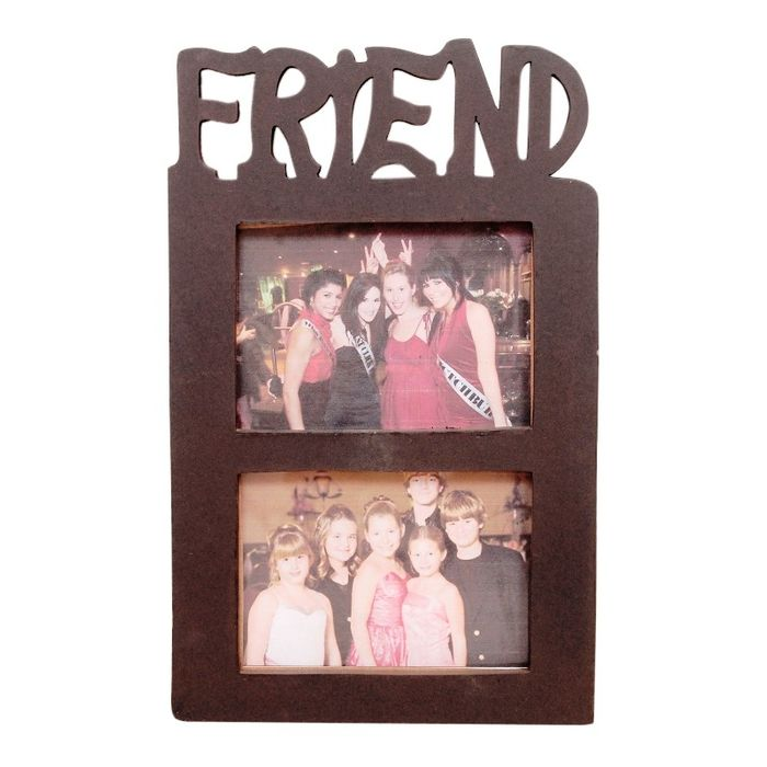 Onlineshoppee Wooden and Antique Wall Hanging FRIEND Collage  Photo Frame  Colour brown