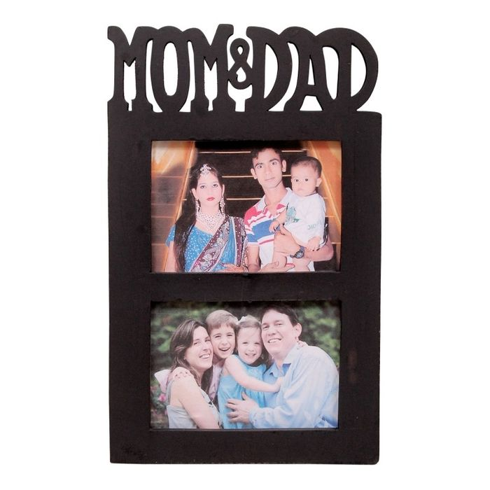 Onlineshoppee Wooden and Antique Wall Hanging MOM & DAD Collage  Photo Frame  Colour brown