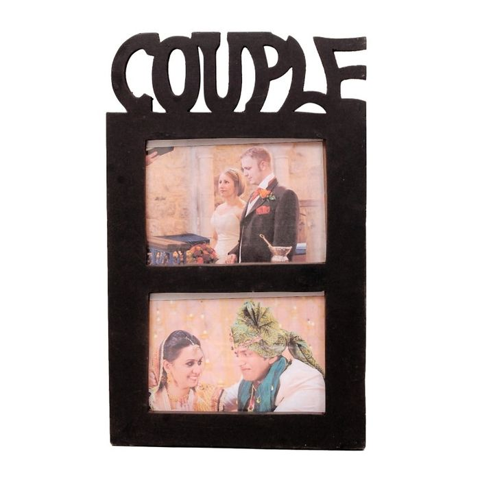 Onlineshoppee Wooden and Antique Wall Hanging Couple Collage  Photo Frame  Colour brown