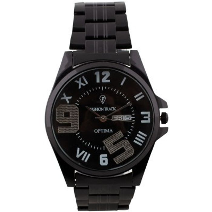 Optima FT-ANL-2503-BLACK Fashion Track Analog Watch - For Men