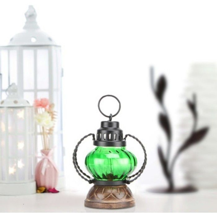 Wooden & Iron hand carved Colored Electric Chimney Lantern design ~ Green