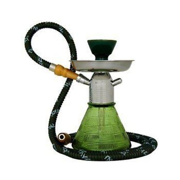 Onlineshoppee Olive Green Designed Glass & Metal Hookah Size-9 Inch