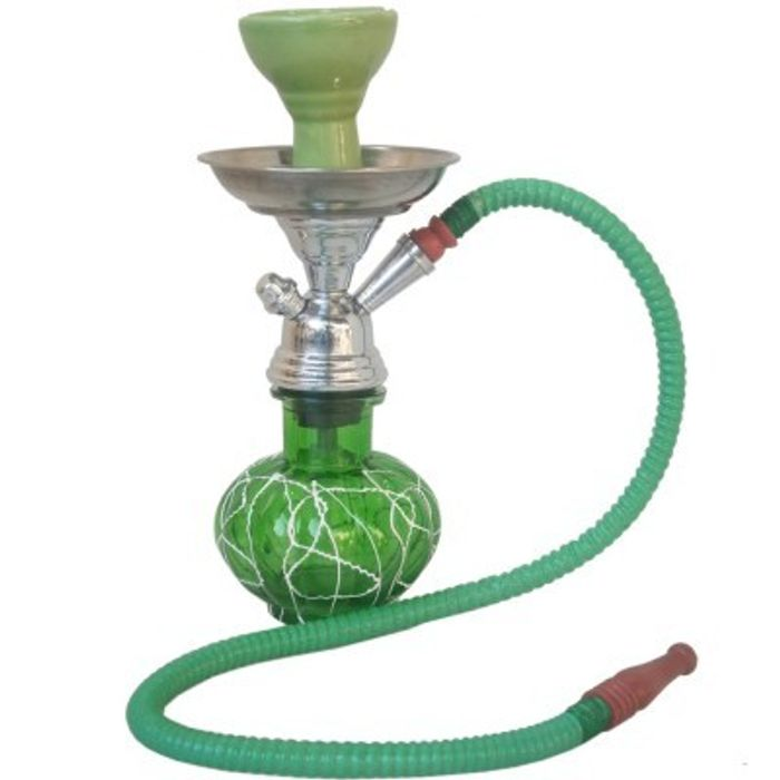 Onlineshoppee Green Stylish 12 inch Glass Hookah With Coal Pack And Flavor