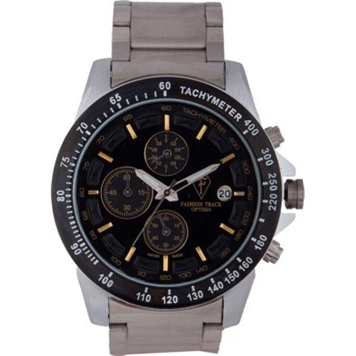 Optima OFT-2433 BLACK Fashion Track Analog Watch - For Men