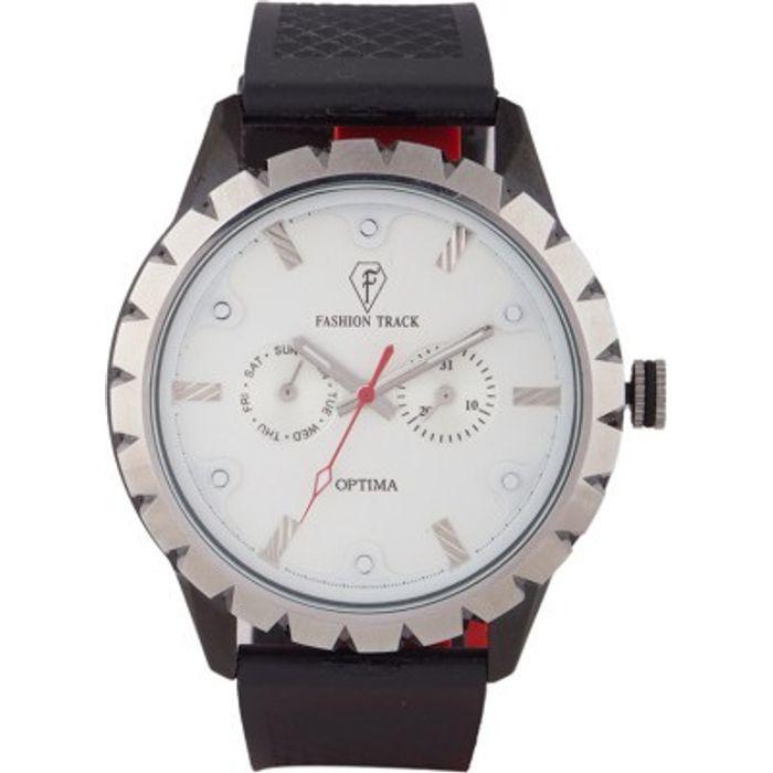 Optima OFT-2462 WHITE Fashion Track Analog Watch - For Men