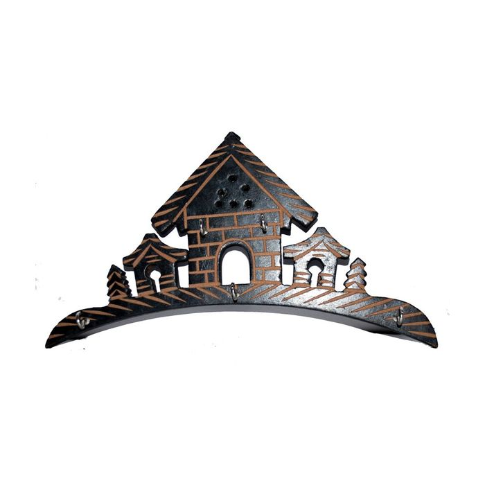 Wooden Hut Shape Wall Decor Key Holder
