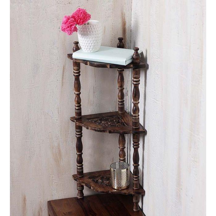 Mini Wooden corner rack side table home décor carved end table furniture shelves