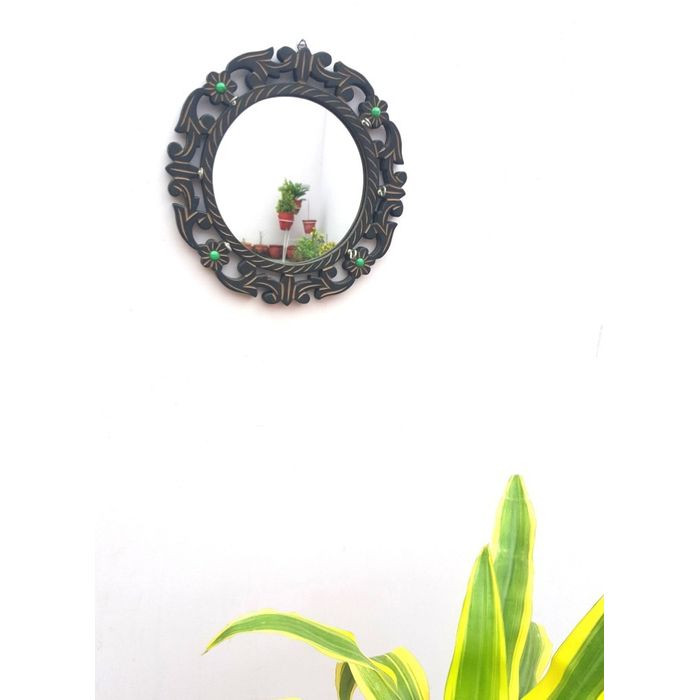 Wooden Wall Decor Key Holder With a Mirror