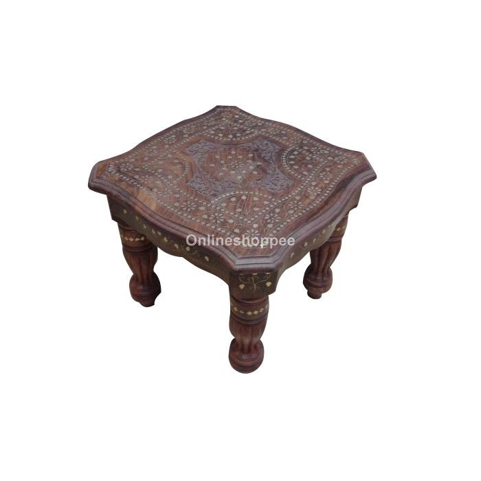 Brass Inlay Home Decor Table - 23*23*21