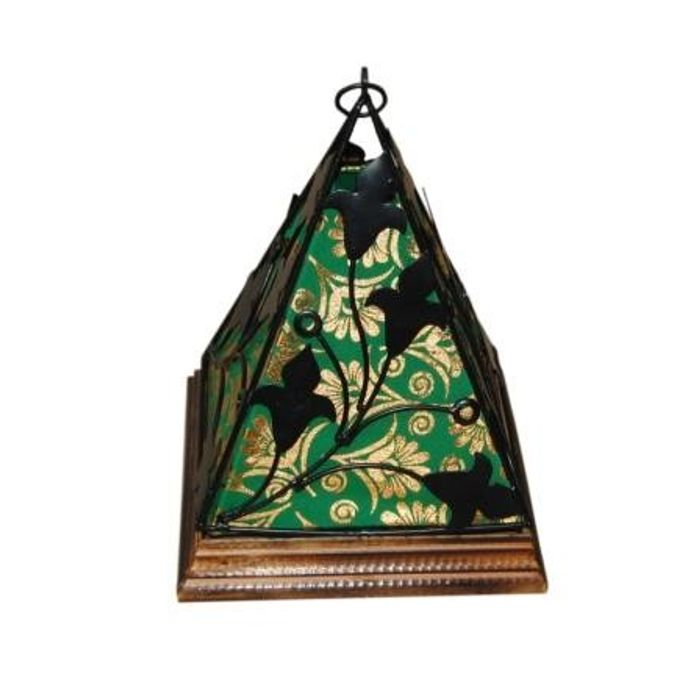 Onlineshoppee Contemporary Wooden & Wrought Iron Lamp Handmade Antique Look - Green