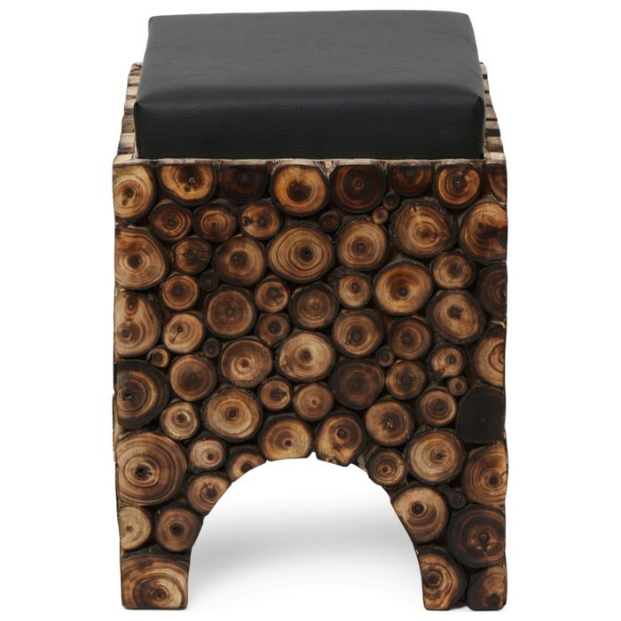 Wooden Stool/Chair  With Storage  Made From Natural Wood Blocks