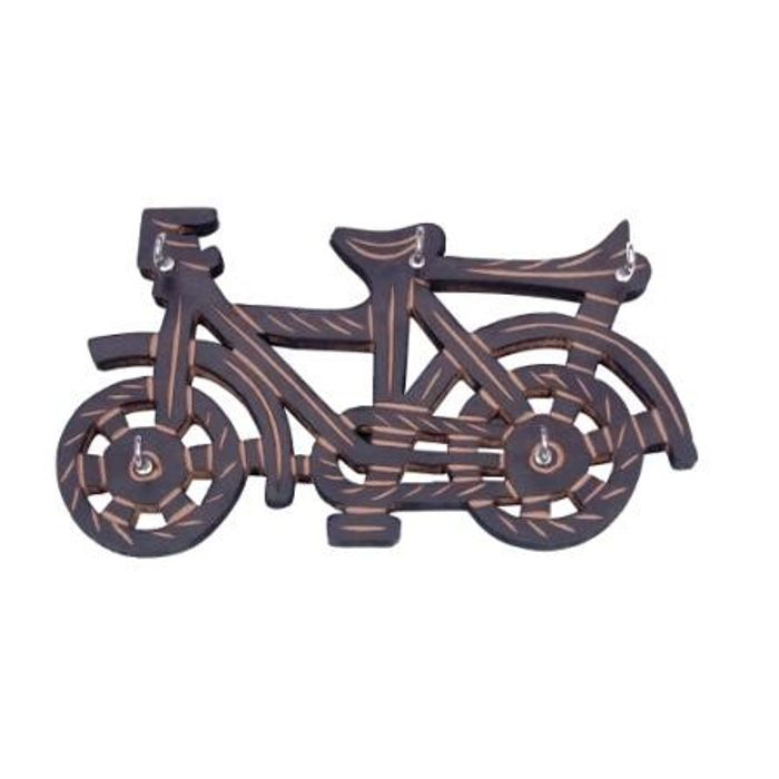 Wooden Key Holder In Cycle Shape With Handicraft Design