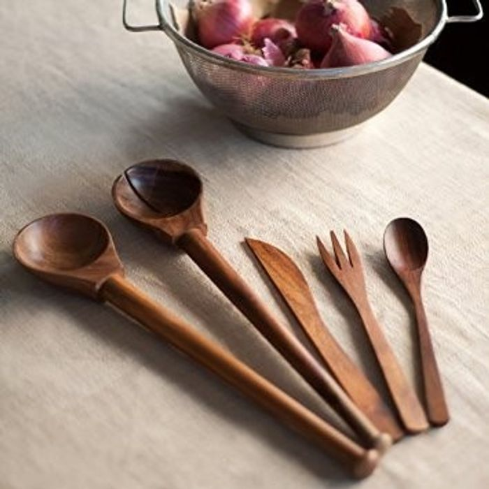 Onlineshoppee Set Of 5 Kitchen Cutlery In Sheesham Wood- For Kitchen