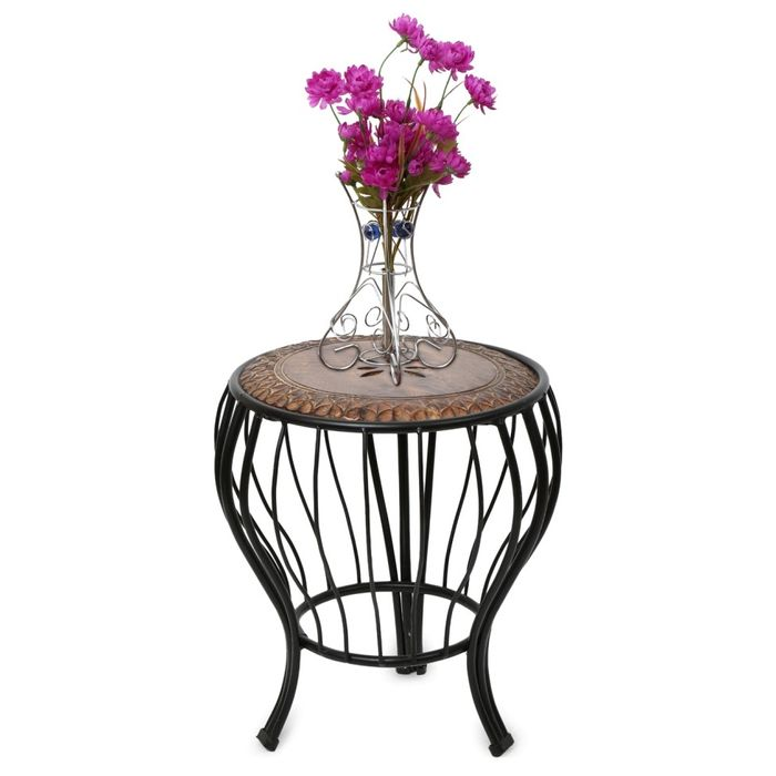Onlineshoppee beautiful Wood & Wrought Iron Home Decor Table/stool Size(LxBxH-14x14x17) Inch