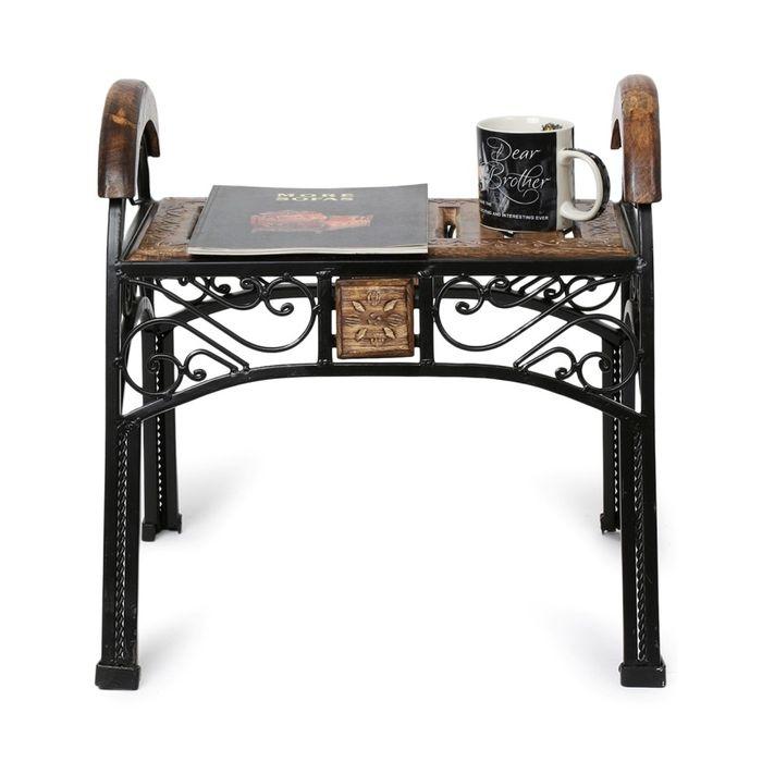 Onlineshoppee Wood & Iron Handmade Design Coffee Table S ize(LxBxH-20x17x20) Inch