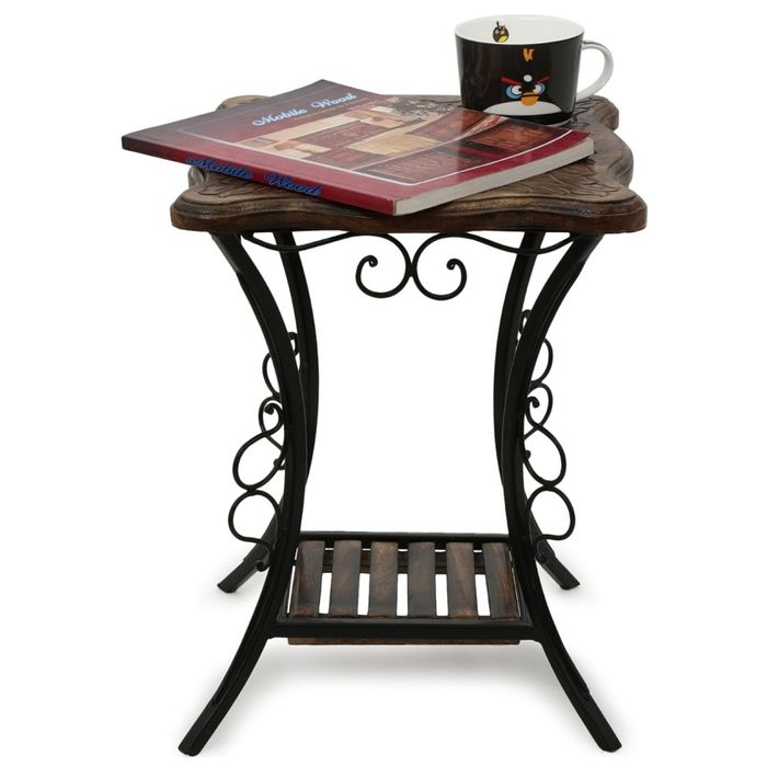 Onlineshoppee Wood & Iron Handmade Design End Table Size(LxBxH-12x12x16) Inch