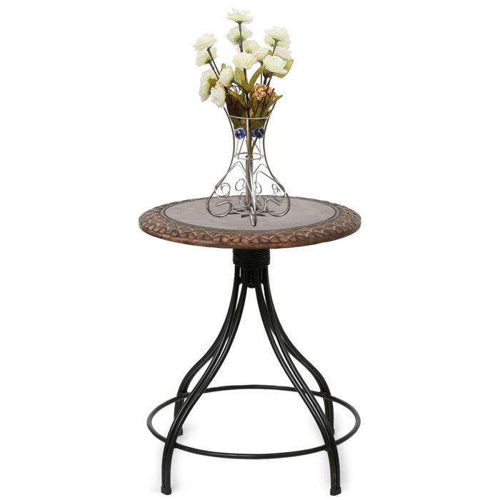 Onlineshoppee Wood & Iron Handmade Design Revolving End Table
