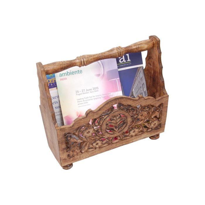 Onlineshoppee Wooden Magazine Holder  With Jaali Work