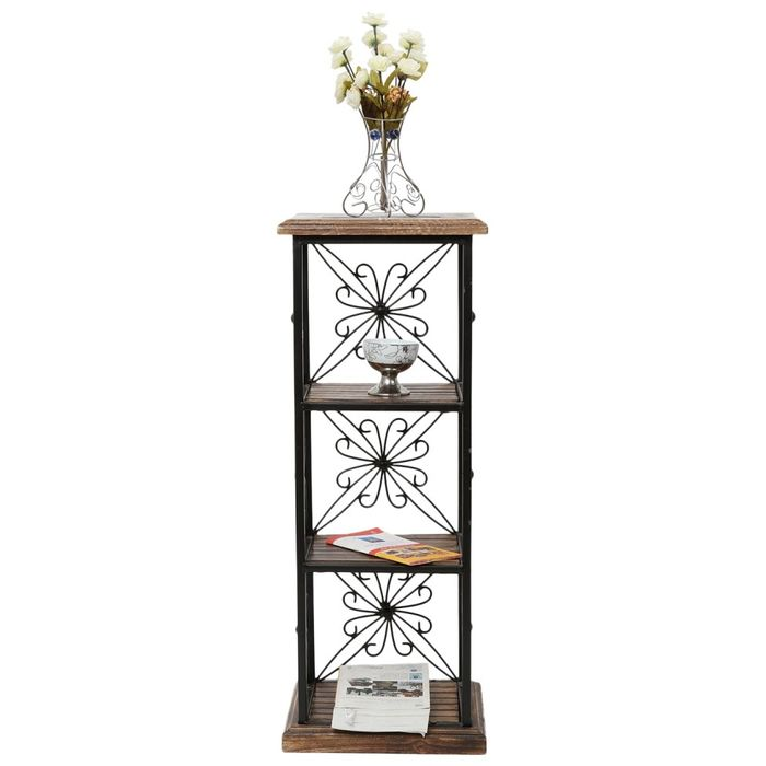 Onlineshoppee Wood & Iron Book Shelf cum End table With 3 Shelves Size(LxBxH- 11.5x9.5x31) Inch