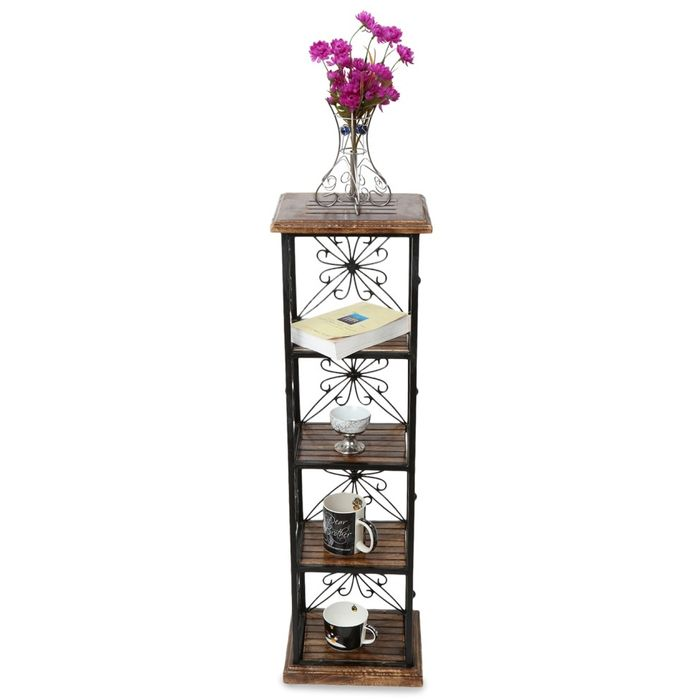 Onlineshoppee Wood & Iron Book Shelf cum End table With 4 Shelves Size(LxBxH-11.5x9.5x40.5) Inch