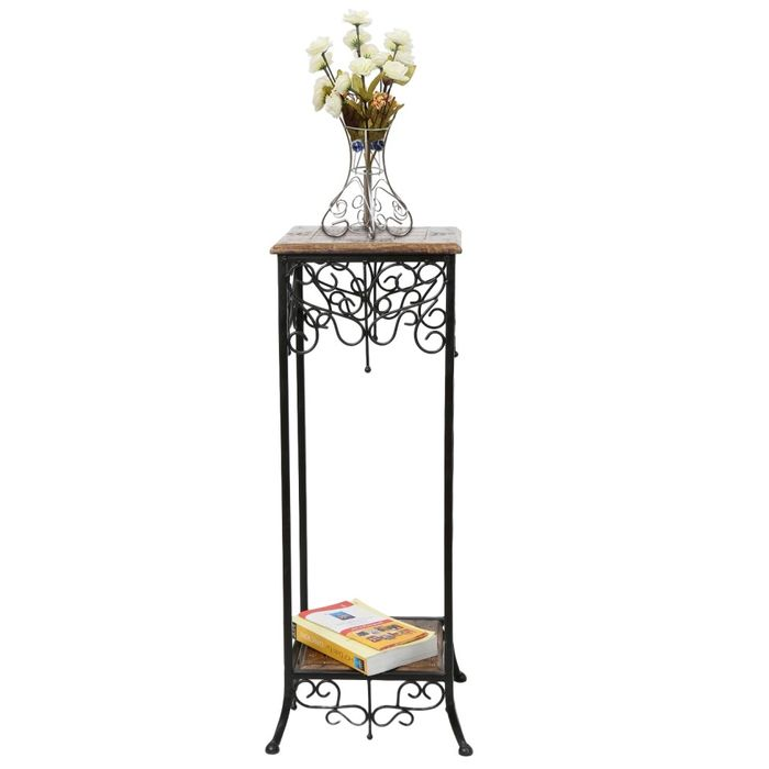 Onlineshoppee Wood & Iron  cum End table Size(LxBxH-11x11x31) Inch