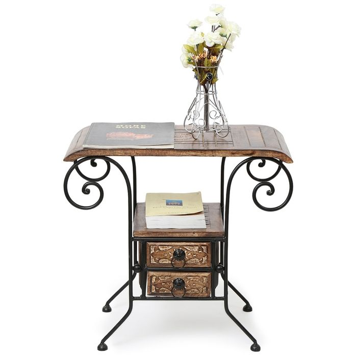 Onlineshoppee Wood & Iron cum End table