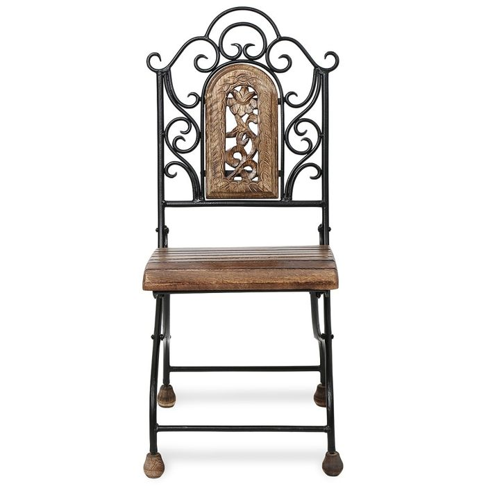 Onlineshoppee Antique Child's  Wood & Iron Chair With Handmade Design Size(LXBXH-12x13x29)  inch
