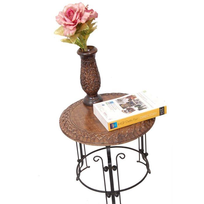 Onlineshoppee Wood & Iron Handmade Design Stool Size(LxBxH-14X14X12) Inch