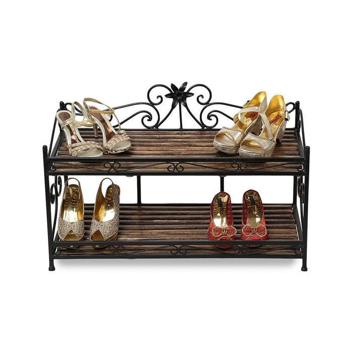 Onlineshoppee Wooden & Iron beautiful Fancy Design Shoe Rack With 2 Compartment For Home Decor Size(LxBxH-32x15x22) Inch