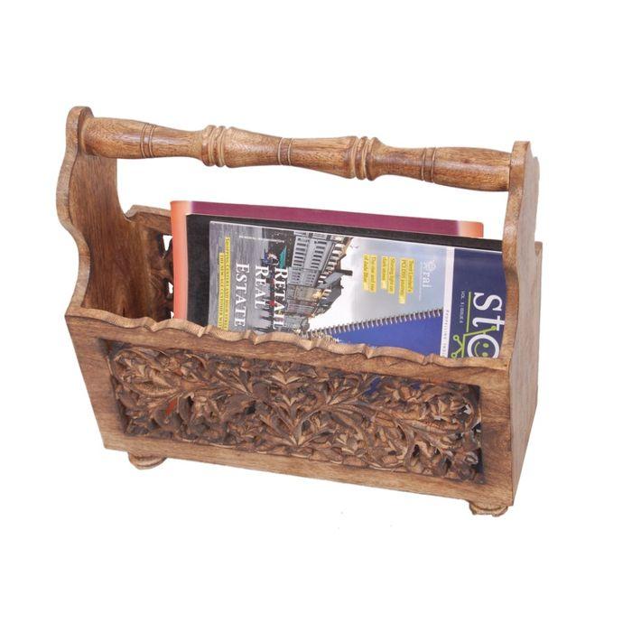 Onlineshoppee Wooden Magazine Holder  With Jaali Work Size(LxBxH-15x6x14) Inch