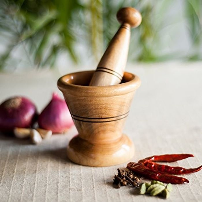 Onlineshoppee Wooden Spice Mortar & Pestle / Masher In Natural Brown