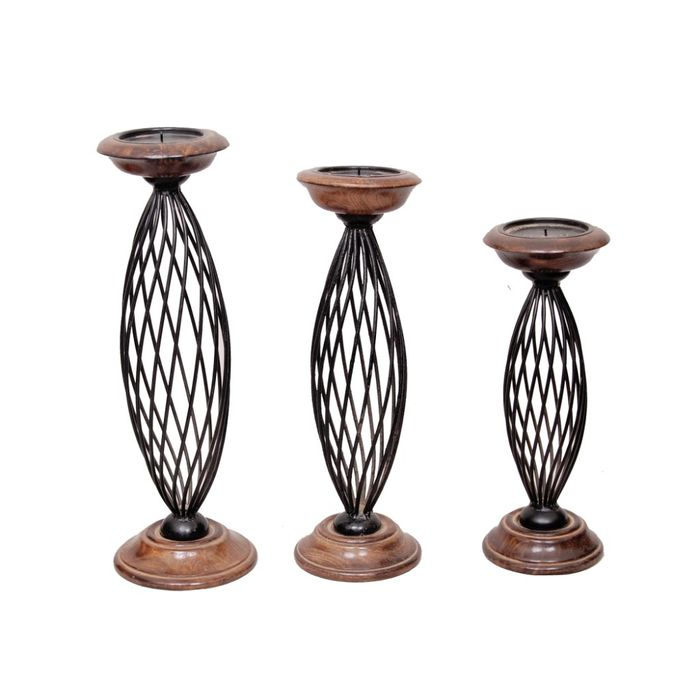Onlineshoppee Antique Wood & Iron Candle Stands  Set of 3