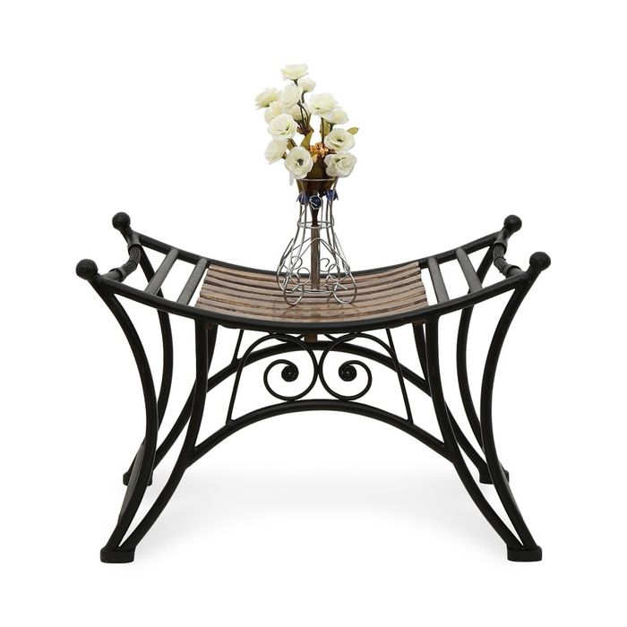 Onlineshoppee Wooden & Iron Beautiful Fancy Design Boat Shaped Stool/Table Size(Lx BxH-23x13x16) Inch
