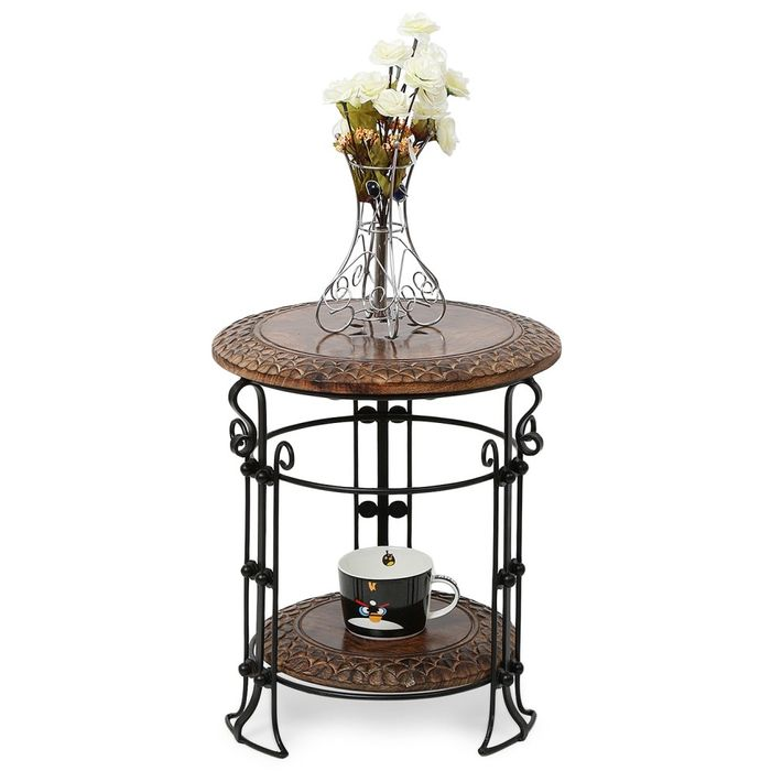 Onlineshoppee Wooden & Iron Fancy Home Decor Table Size(LxBxH-14x14x15.5) inch