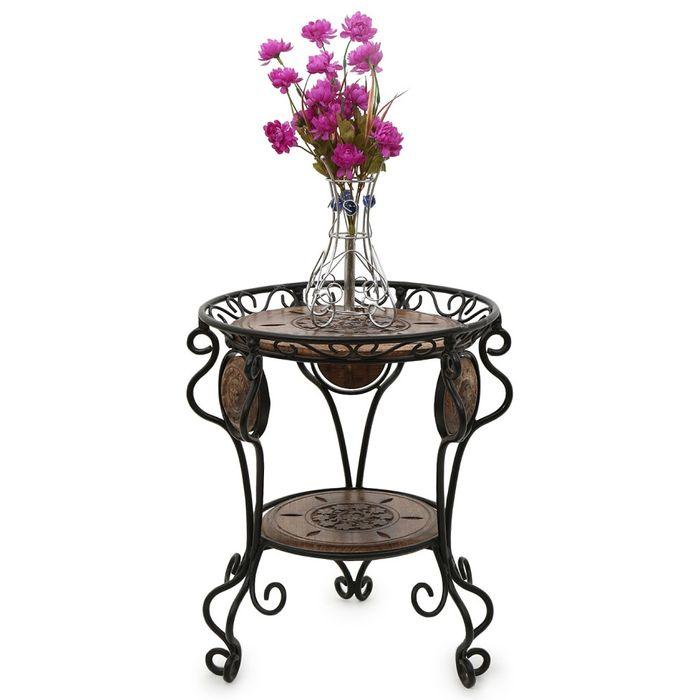 Onlineshoppee Wooden & Wrought Iron Beautiful DesignTable Size(LxBxH-14x14x17.5) Inch