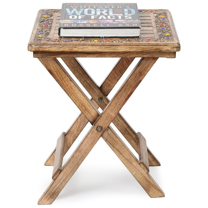 Onlineshoppee Wooden Antique Foldable Table With Hand Carving Work