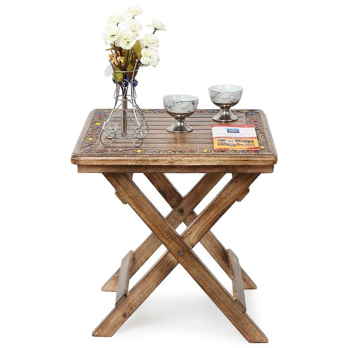 Onlineshoppee Wooden Antique Foldable Table With Hand Carving Work Size(LxBxH-18x18x19) Inch